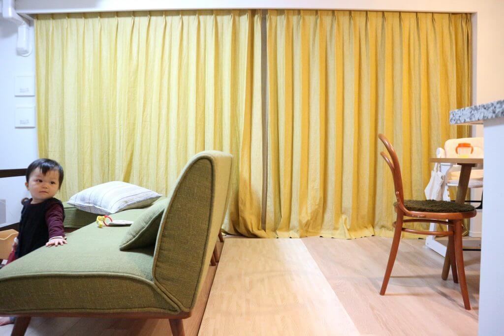 リフリンリネンカーテン 裾+10cm